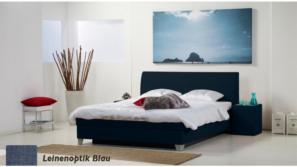 wasserbett luxus box pro leinenoptik blau boxspring-look