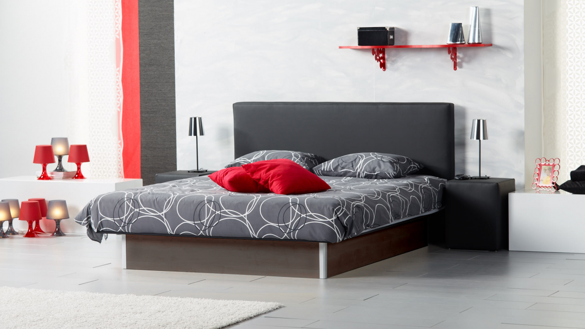 Wasserbett Basic mit Bettpodest in der Farbe Eiche dunkel