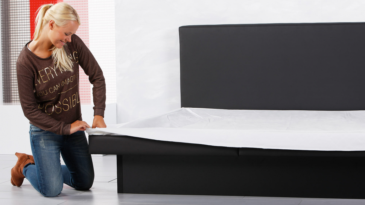 Wasserbett Luxus Pro Bezugunterteil um die Bodenplatte legen