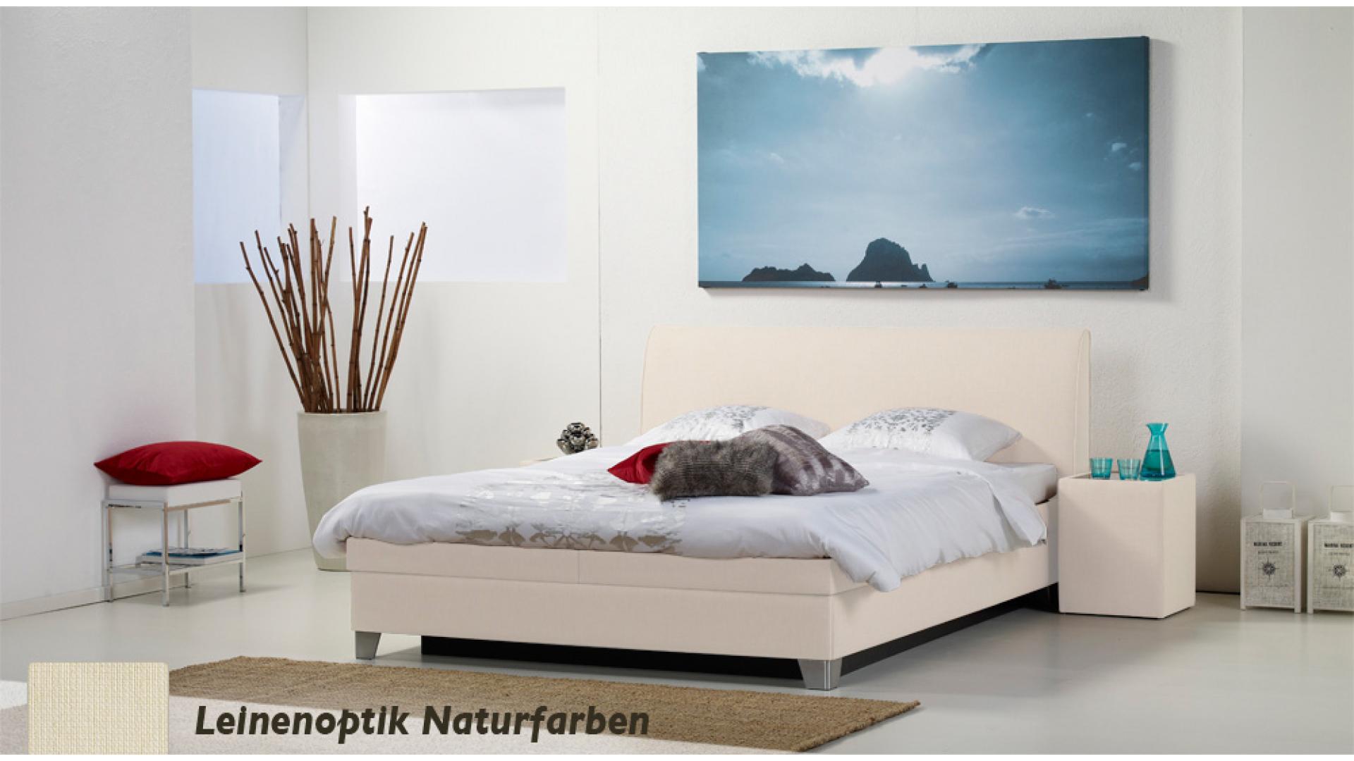 wasserbett luxus box pro leinenoptik naturfarben boxspring-look