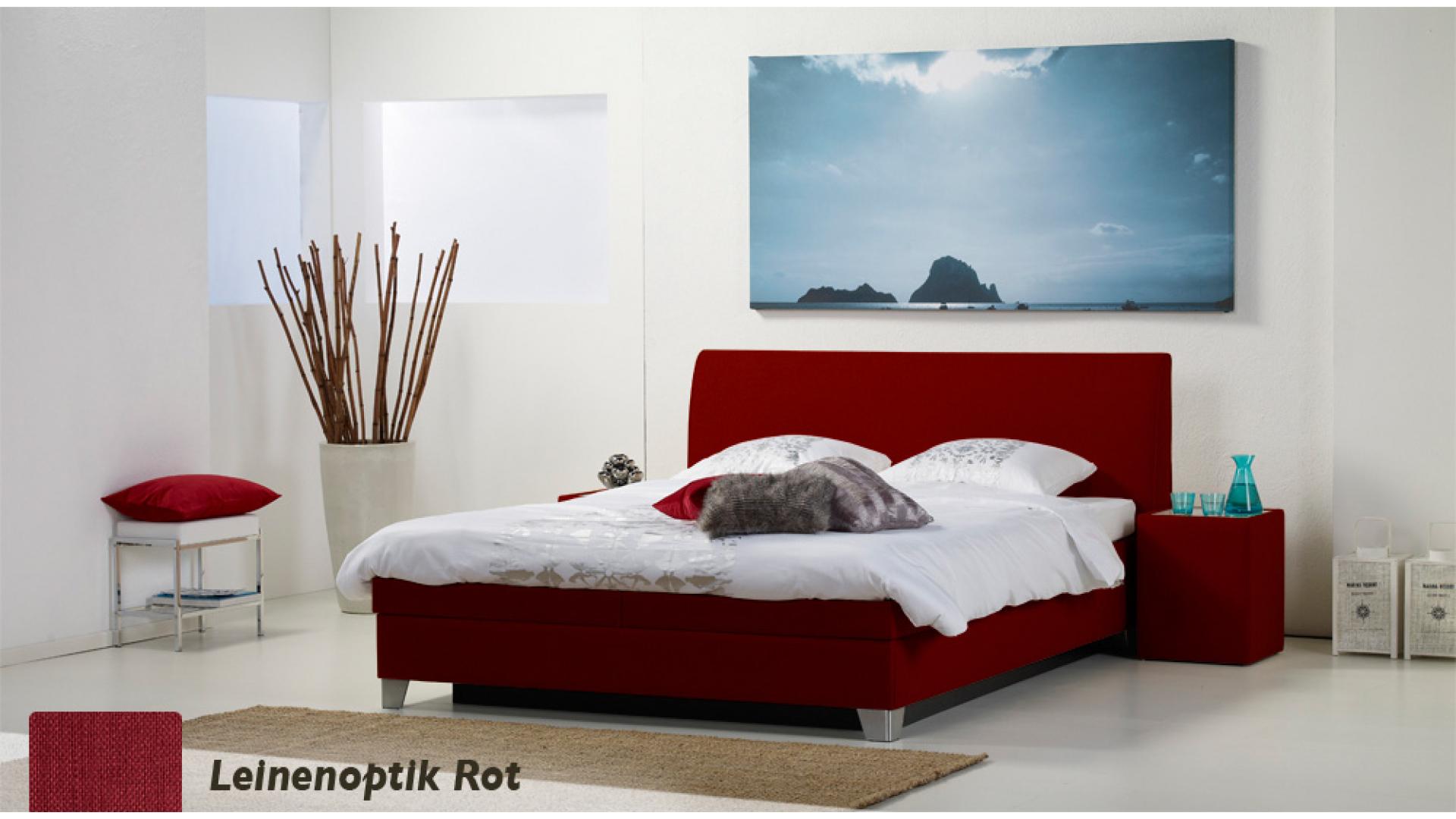 wasserbett luxus box pro leinenoptik rot boxspring-look